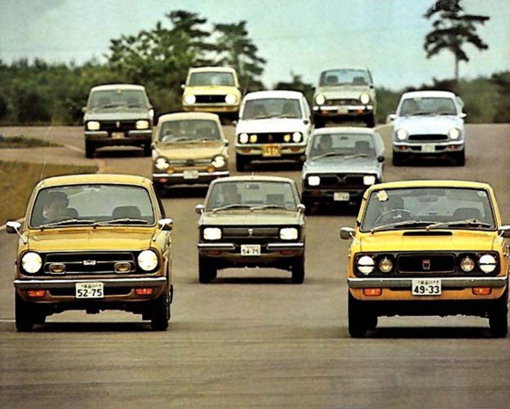 1971 Japanese Cars: Mitsubishi Minica Skipper, Honda Life Custom, Nissan Sunny EX1400 Coupe GX, Daihatsu Consorte S1200, etc.