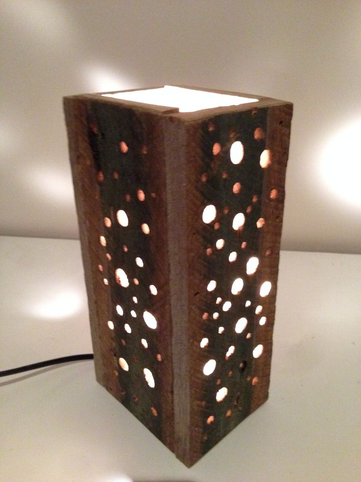One of our custom recycled timber table lamps