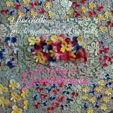 i fiocchetti... piccoli crochet all'uncinetto, applicazioni per abbigliamento, accessori, corredo casa ed hobbies creativi. Fiocchetti, piccole applicazioni lavorate all'uncinetto, in cotone 100% makò egiziano, colori melangé. Misura: largh cm.3 x h cm.3 (circa) Cod-fh062