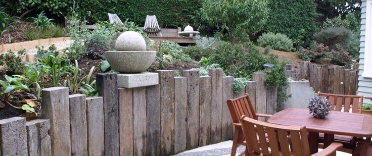 """Résultat de recherche d'images pour """"vertical oak sleeper retaining walls"""""""