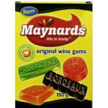 Maynards Wine Gums    One of Britain's most recognizable sweets. First launched by Charles Gordon Maynard in 1909, these chewy treats come in a selection of flavors including strawberry, orange and blackcurrant.    Wine gums were originally made using fermented wine - hence the name. Please note, however, that this manufacturing process is no longer used and Maynards Wine Gums do not contain any wine at all.     Makes chewing beef jerky seem like  marshmallows.