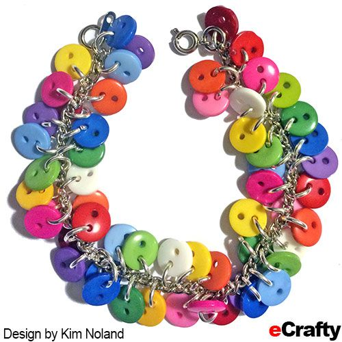 DIY Chakra Rainbow Button Charm Bracelet Recipe from eCrafty.com Illustrated instructions and supplies list #ecrafty #buttons #crafts #diyjewelry #charmbracelet http://ecrafty.wordpress.com/2014/04/07/diy-chakra-rainbow-button-charm-bracelet-recipe-from-ecrafty-com/