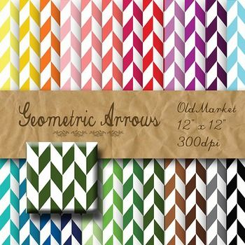 Digital Paper Pack - Geometric Arrows - 24 Different Paper