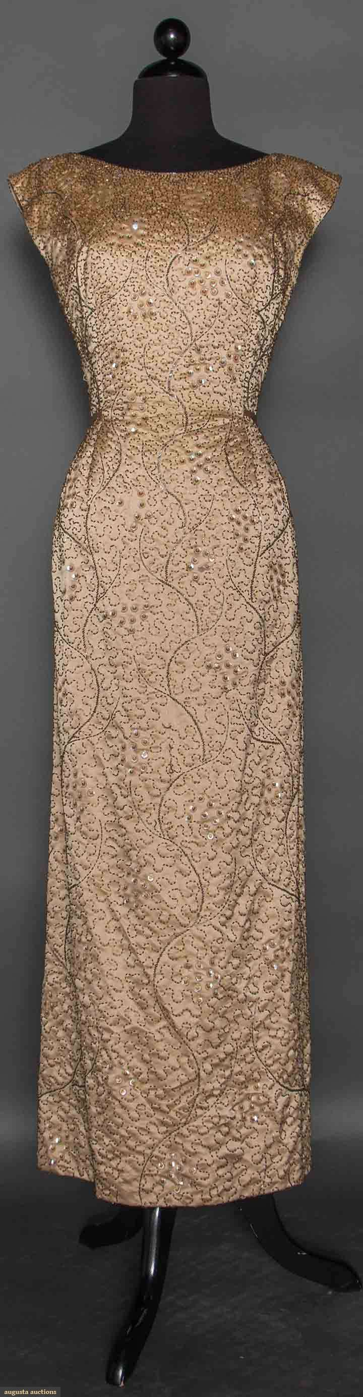 """GOTHE BEADED GOWN, 1950s Light golden brown sleeveless long sheath, covered w/ bugle beads in vermicelli pattern & clusters of irridescent sequins, gold China silk lining, label """"Gothe New York Paris"""""""