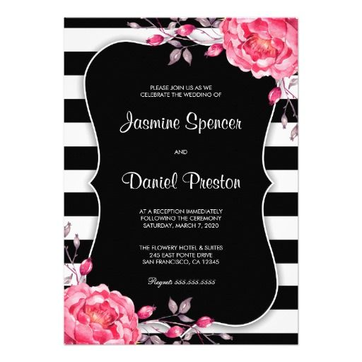 the 32 best floral black and white striped wedding invitations