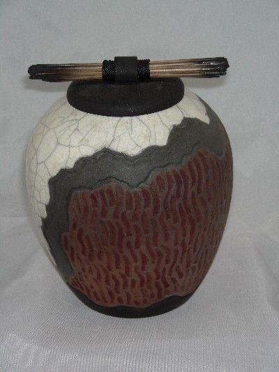 Raku Pottery   Raku lidded jar; attractive white crackle glaze with brown texture ...