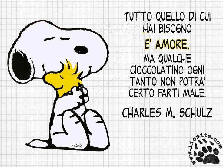 ANZI!!!  ormai è provato che il cioccolato fa bene :)  Tutto quello di cui hai bisogno è amore.  Ma qualche cioccolatino ogni tanto non potrà certo farti male.  Charles M. Schulz  #peanuts, #snoopy, #cioccolatine, #amore, #fotocitazioni,