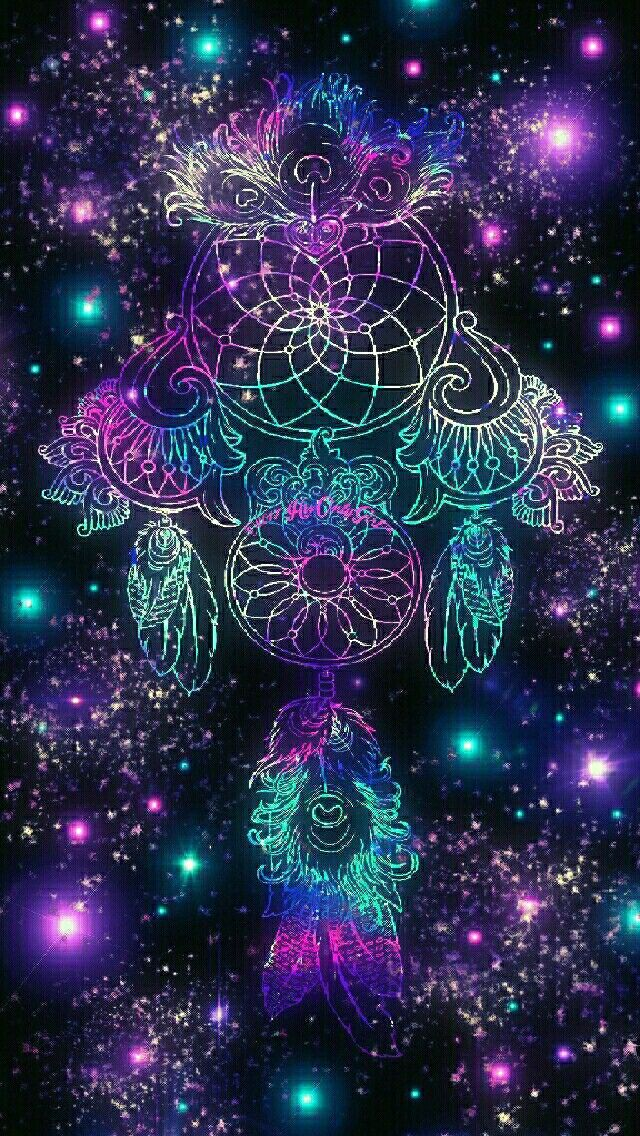 Feather dreamcatcher sparkle galaxy iPhoneAndroid wallpaper I