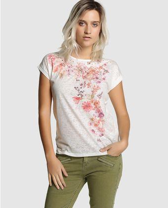 Camiseta de mujer Fórmula Joven con estampado floral y bordado