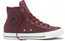 Converse vínové kožené dámské boty s kožíškem Winter Knit