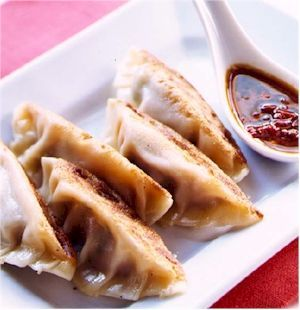 """Pot Stickers (steamed wontons) Recipe    Ingredients    * 12 Wonton wrappers (3-1/2"""" square)   * Ground turkey, 5 oz  * Carrots, raw, .5 cup, grated   * Onions, raw, .5 cup, chopped   * Celery, raw, .5 cup, diced  * Soy Sauce, 1 tsp"""