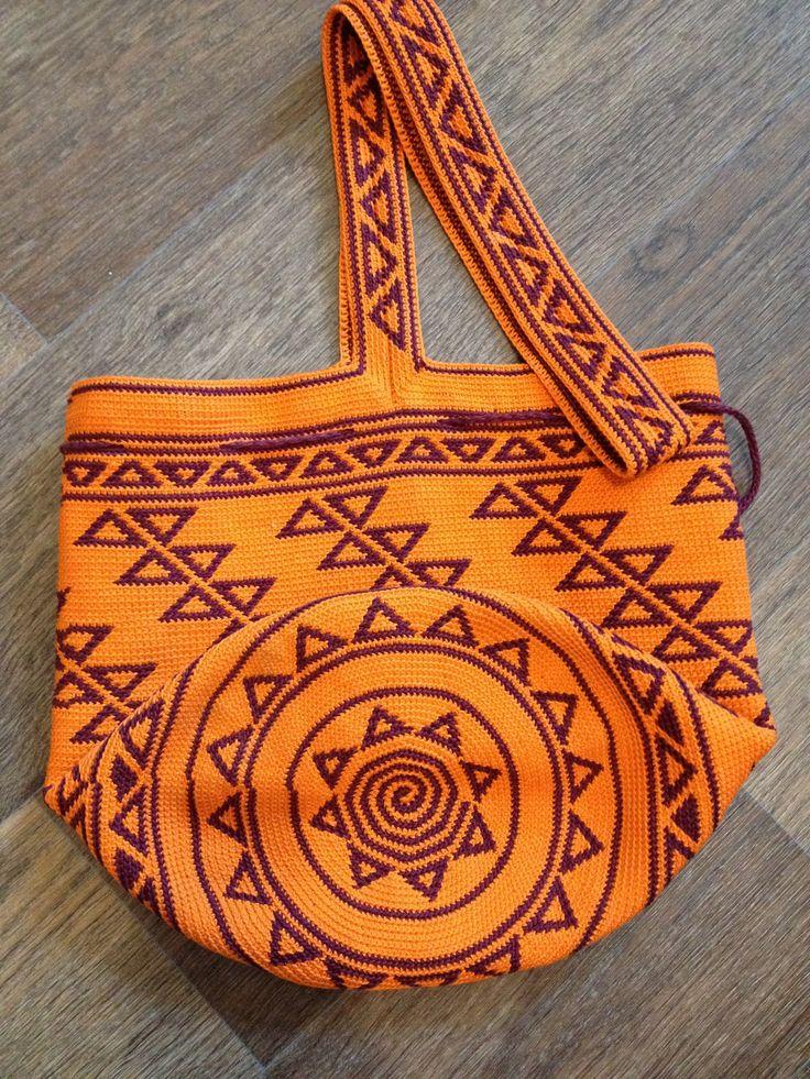 Колумбийская мочила. Вяжем жаккардовую сумку крючком | РУКАВИЧКА (изделия ручной…