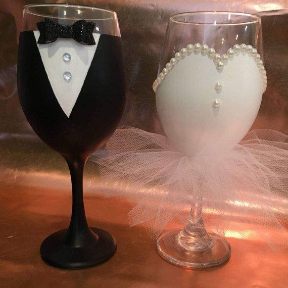Copas de vino de la mano pintado nupcial novios vino vasos de