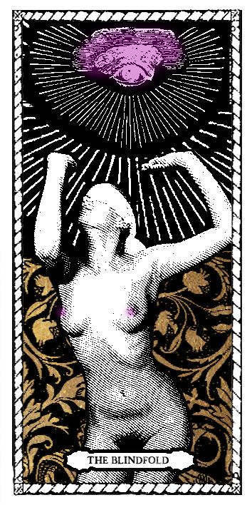 Blindfold Tarot Card by Passiones Martyrum (print on special paper, watercolor, golden leaf - 9 x 18 cm/3,5 x 7 inches)