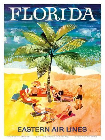 Florida - Eastern Air Lines - Sunbathers around Palm Tree Art Print by Jane Oliver at Art.com
