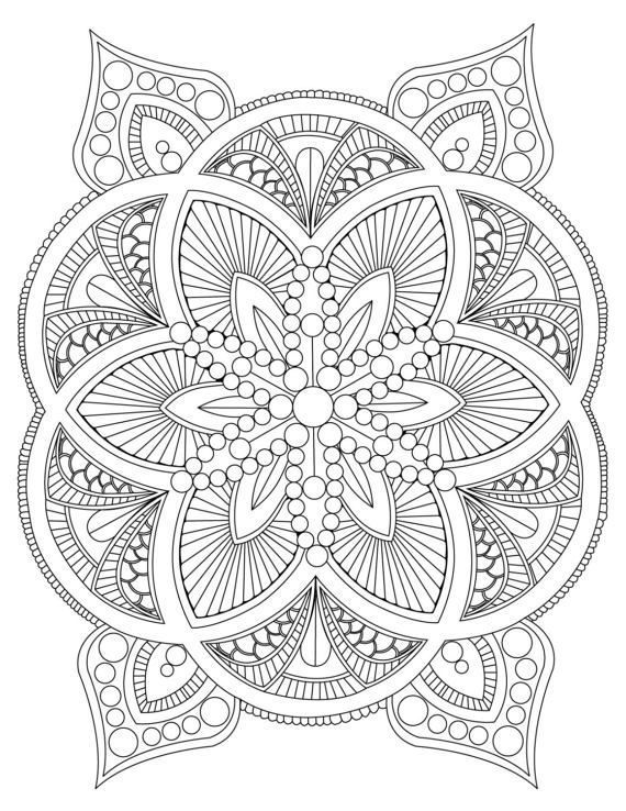 Abstract Mandala Coloring Pages For Adults Digital Download Stress Relief Rela 8230 8211 Colorin Malvorlagen Mandala Malvorlagen Mandala Zum Ausdrucken