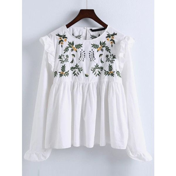 White Embroidery Ruffle Trim Pleated Blouse (8.850 HUF) ❤ liked on Polyvore featuring tops, blouses, shirts, embroidered shirts, white embroidered blouse, long sleeve tops, embroidery blouses and long sleeve shirts