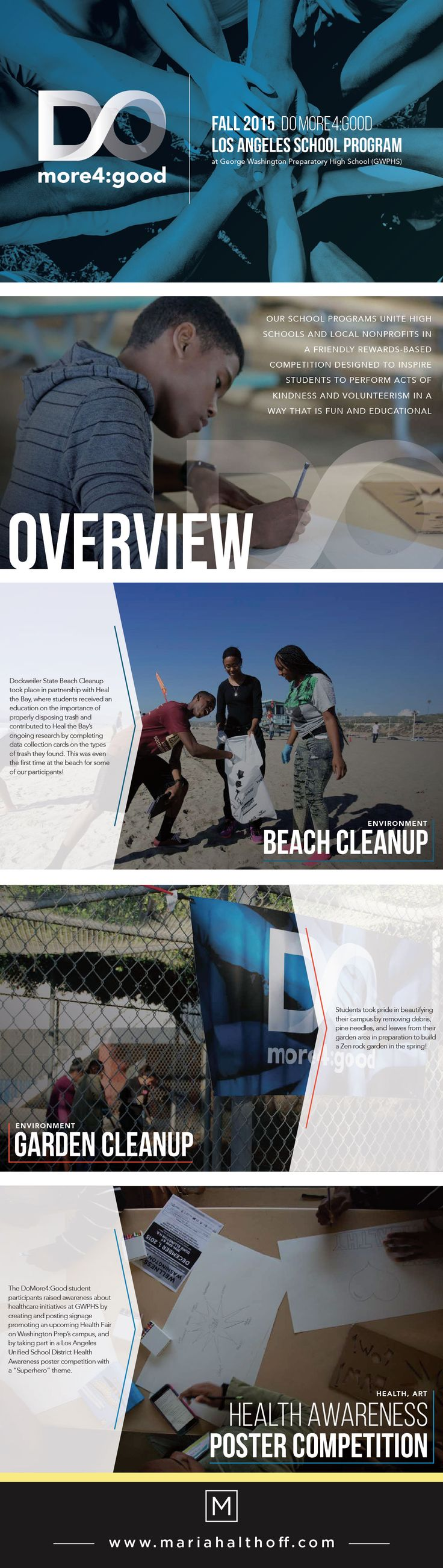 Annual review for non-profit booklet marketing piece. Graphic design.