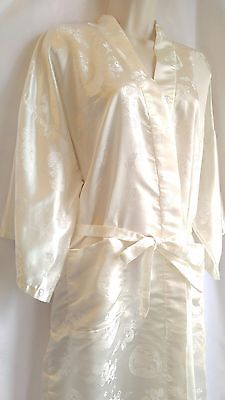 Ivory Embroidered Asian Bath Robe Kimono Cover Up Size Large FREE SHIPPING