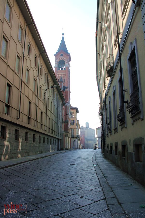 A view of the Red Tower in Asti, in the Monferrato wine zone of Piemonte, Italy