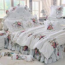Пастырской принцесса белые постельные принадлежности комплект роскошных 4 шт. печать оборками пододеяльник юбка Bedspread постельное белье хлопок король(China (Mainland))