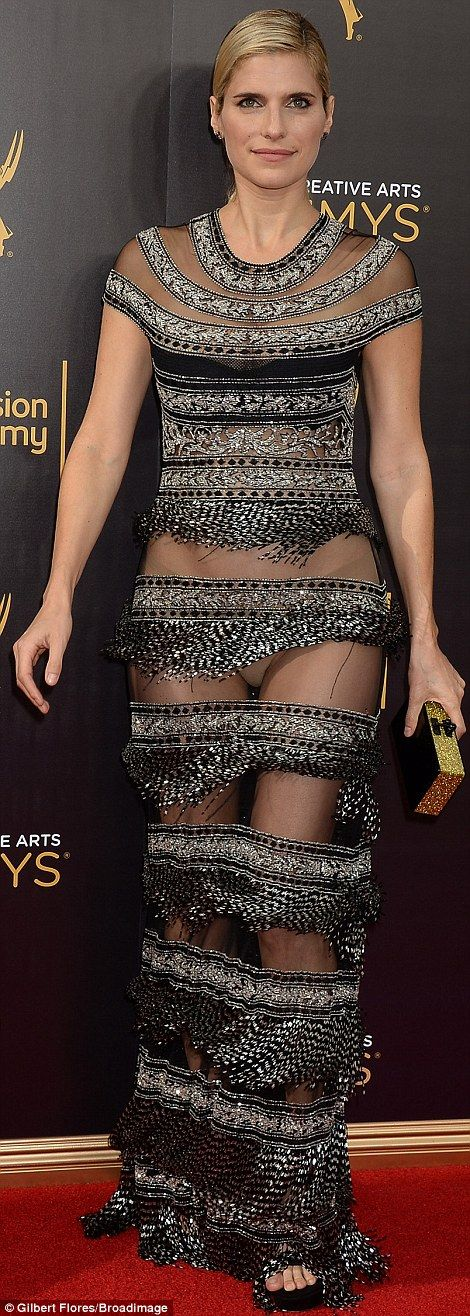 Surprise: Lake Bell's chain mail dress turned out, when she moved, to be more revealing than it seemed at first