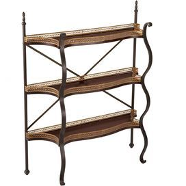 Floor shelf with three fir wood tiers and gilt cage