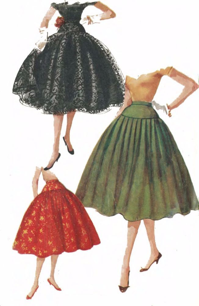 "Vintage 1950's Sewing Pattern Rockabilly Full Circle Skirt Swing W 23.5"" H 32""  #Simplicity"