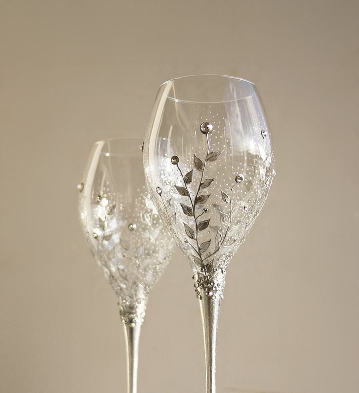 hand painted crystal champagne wine wedding anniversary glasses silver floral design and swarovski crystals set of 2