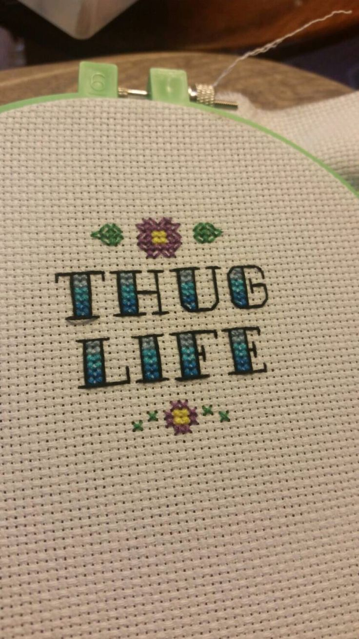 Thug Life ironic funny rap cross stitch decor by HappyHookingBoutique on Etsy https://www.etsy.com/listing/239927170/thug-life-ironic-funny-rap-cross-stitch