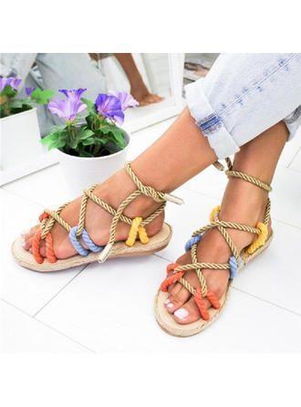VERYVOGA Frauen Sandalen Flache Schuhe Flascher Absatz Stoff Geflochtenes Band S…,  #Absatz…