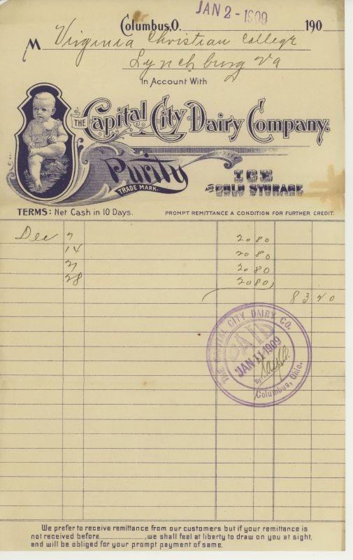 Vintage Dairy Invoice