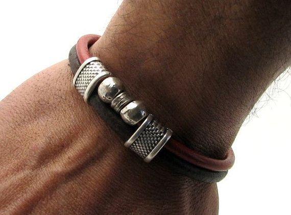 Personalized Jewelry.Men's leather bracelet.Red leather and brown leather bracelet.Mens bracelet.Leather bracelet.Wrap leather bracelet.