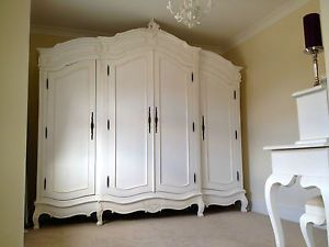 White-La-Rochelle-large-Wardrobe-4-door-Antique-French-Shabby-Chic-Rococo