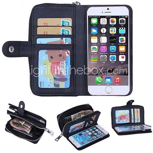 USD $ 14.99 - rits portemonnee patroon echt leder met kaartslot voor iPhone 6 plus (verschillende kleuren)