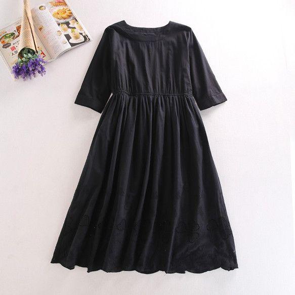 (再販)透かし彫り刺繍 7分袖 綿のワンピース 黒