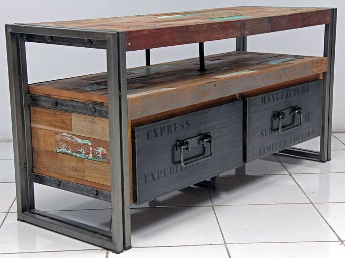 industrial looking furniture. tv entertainment console with 2 drawers and 1 shelf made from steel salvaged reclaimed fishing boat wood for a modern rustic industrial look looking furniture pinterest