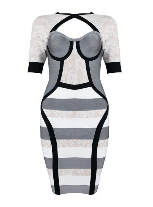 H440 black and white dress
