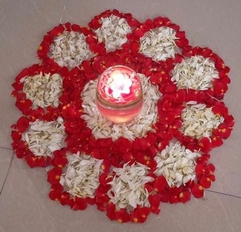 Circle shape flower rangoli for Diwali