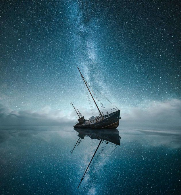 The Lost World Shipwreck on a clear night off the coast of Finland. By Mikko Lagerstedt.