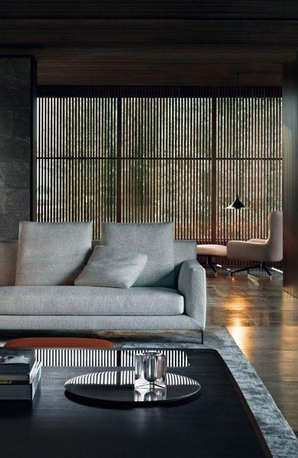wood texture modern living room lamp furniture Japanese Trash masculine design inspiration