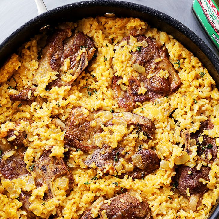 Mom's One Pot Oven-Baked Risotto with Lamb Chops Recipe Main Dishes with pure olive oil, lamb chops, seasoning salt, ground pepper, butter, yellow onion, garlic cloves, arborio rice, fresh thyme leaves, low sodium vegetable broth, skim milk, salt, ground pepper