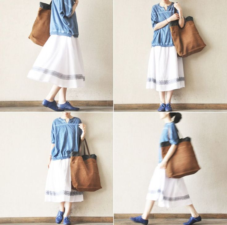 Angle White Blue embroidered Skirt Summer Clothes Women Dress