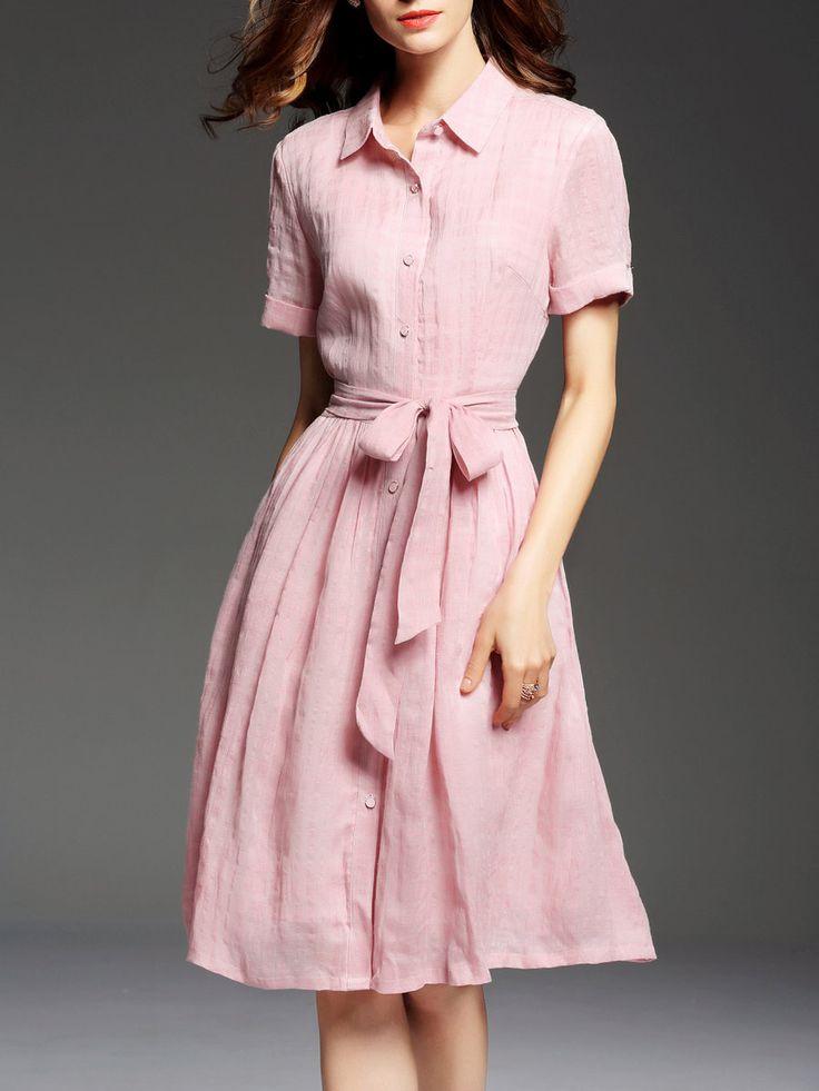 Shop Midi Dresses - Short Sleeve Casual Folds Shirt Dress online. Discover…