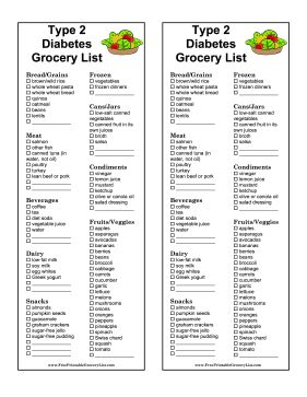Great for people with type 2 diabetes, this printable grocery list provides the best food to eat. Consult an endocrinologist or other medical professional for advice specific to your situation. Free to download and print