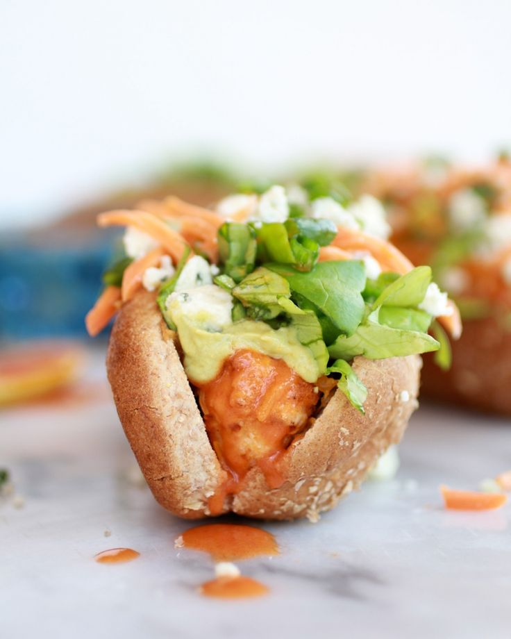 Healthy Loaded Cheddar + Blue Cheese Buffalo Chicken Dogs
