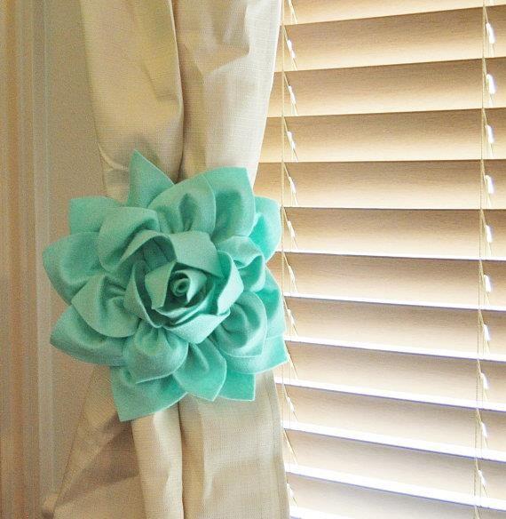 TWO Dahlia Flower Curtain Tie Backs Curtain Tiebacks Curtain Holdback -Drapery Tieback-Baby Nursery Decor- Mint Green Decor by bedbuggs http://audrisnursery.com/s/two-dahlia-flower-curtain-tie-backs-curtain-tiebacks-curtain-holdback-drapery-tieback-baby-nursery-decor-mint-green-decor-by-bedbuggs/