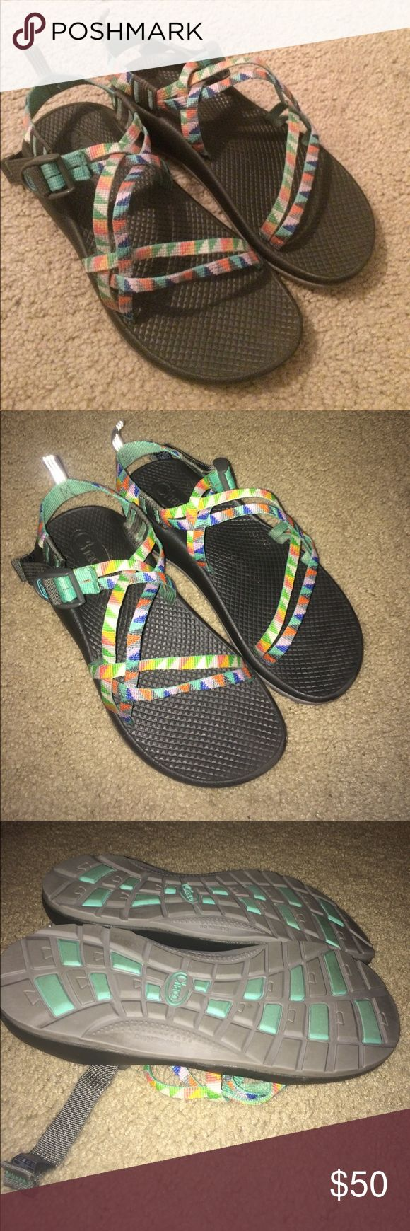 Chacos Rainbow patterned KIDS SIZE 6 Chacos! I also wear a W8 Chacos and these were the equivalent kids size the sales lady recommended and they fit me perfectly to my own amazement haha! I just couldn't pass up these rainbow triangles! Worn only a few times and such a great pattern for Summer! Get these now because this pattern sells out! Chaco Shoes Sandals & Flip Flops