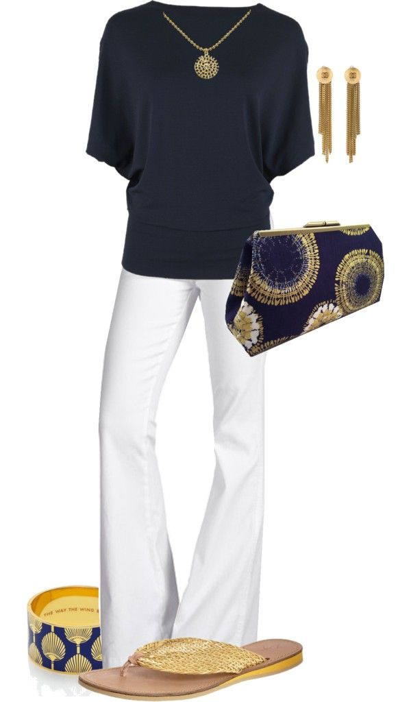 Navy + white.  Great accessories (clutch, bangle bracelet, earrings)