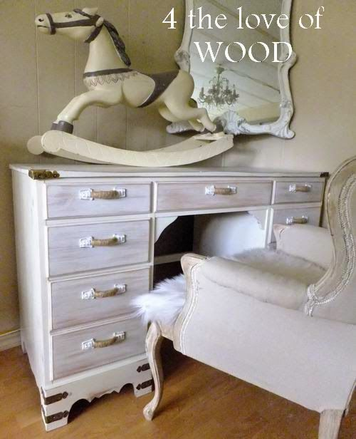 Old desk redo with rope handles from Etsy. 4 the love of wood: WHITE VINTAGE STYLED DESK - metal details & rope handles